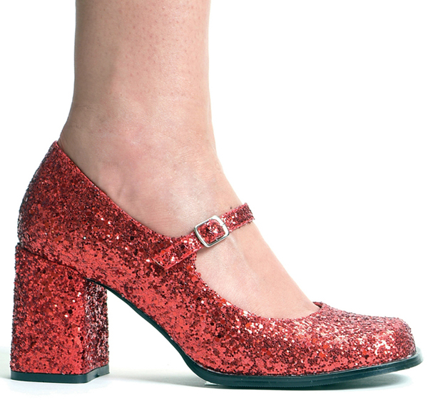 3 Inch Heel Red Glitter Mary Jane Pump