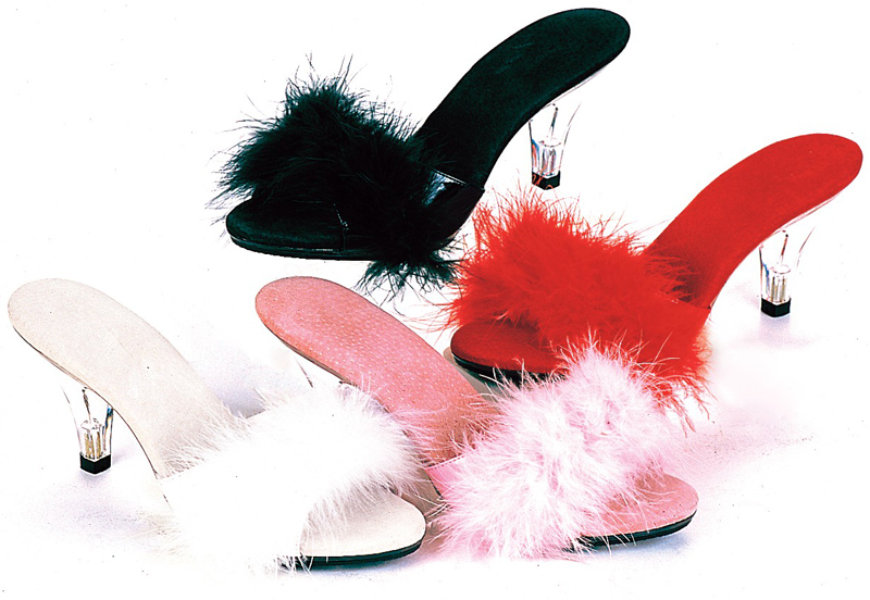 3 Inch Stiletto Heel Maribou Slipper / Slide