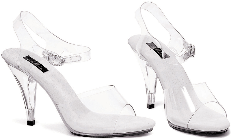 4 Inch Stiletto Heel Clear Open Toe Sandals