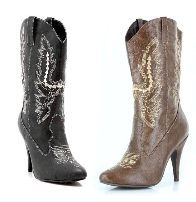 4 Inch Heel Cowgirl Ankle Boots