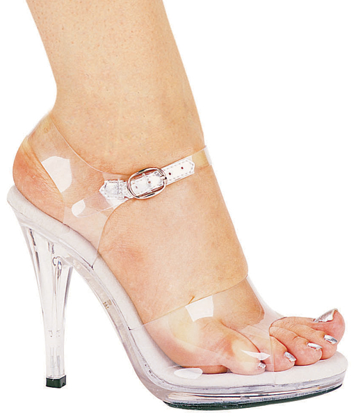 4 1/2 Inch Stiletto Heel Clear Open Toe Sandals