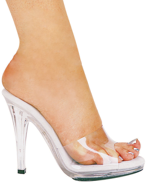 4 1/2 Inch Stiletto Heel Clear Mules