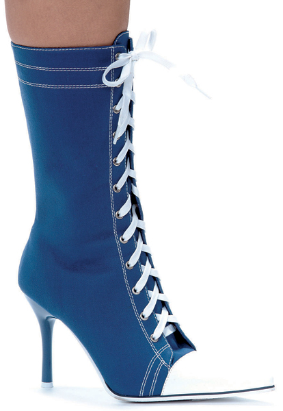 4 1/2 Inch Stiletto Heel Front Lacing Sneaker Ankle Boots - Click Image to Close