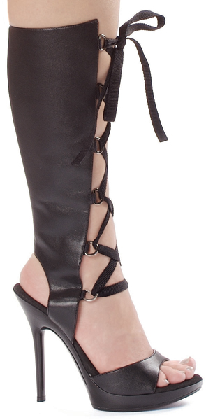5 Inch Stiletto Heel Knee High Front Lacing Sandals