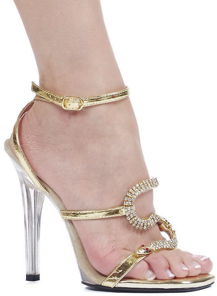 5 Inch Stiletto Heel Open Toe Sandals w/ Snake Design