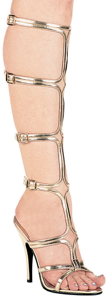 5 Inch Stiletto Heel Knee High Buckled Strap Gladiator Sandals