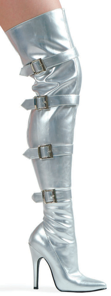 5 Inch Stiletto Heel Thigh High Boots w/Buckles - Click Image to Close