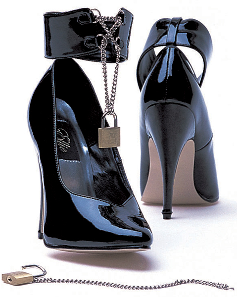 5 Inch Stiletto Heel Classic Ankle Strap Pumps w/ Padlock & Key