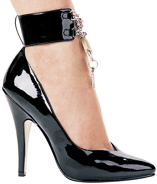 5 Inch Stiletto Heel Classic Ankle Strap Pumps w/ Padlock & Key - Click Image to Close