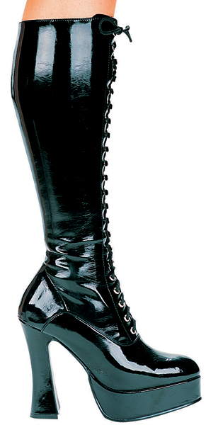 5 Inch Stiletto Heel Stretch Front Lacing Platform Knee Boots