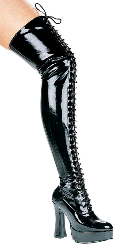 5 Inch Chunky Heel Front Lacing Stretch Platform Thigh High Boot