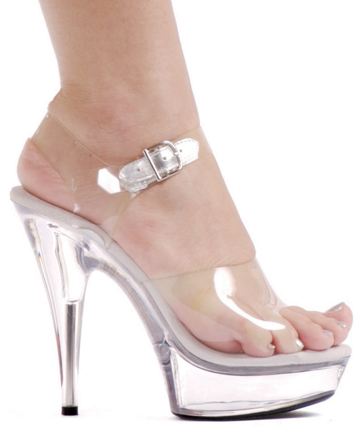 6 Inch Stiletto Heel Clear Platform Sandals