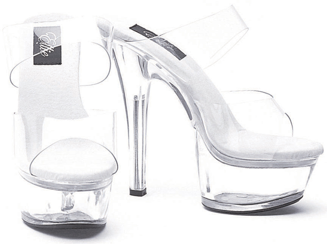 6 Inch Stiletto Heel Double Band Clear Platform Mules