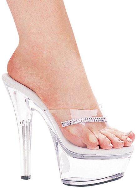 6 Inch Stiletto Heel Clear Platform Mules w/Rhinestones - Click Image to Close