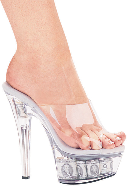 6 Inch Stiletto Heel Clear Platform Mules w/Money In Bottom