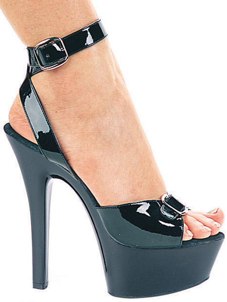 6 Inch Stiletto Heel Buckled Platform Sandals w/Ankle Strap
