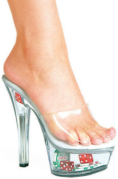 6 Inch Stiletto Heel Platform Mules w/ Dice & Poker Chips