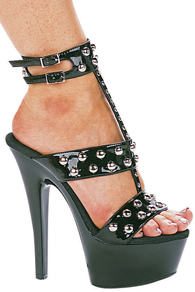 6 Inch Stiletto Heel T-Strap Platform Sandals w/ Silver Rivets - Click Image to Close