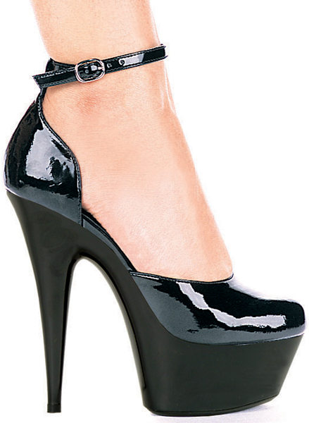 6 Inch Stiletto Heel D'Orsay Platform Pumps w/Ankle Strap - Click Image to Close