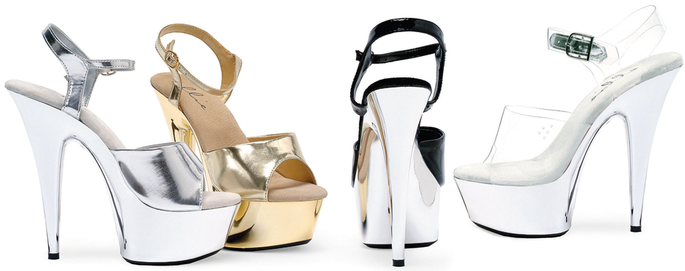 6 Inch Stiletto Heel Chrome Platform Sandals - Click Image to Close