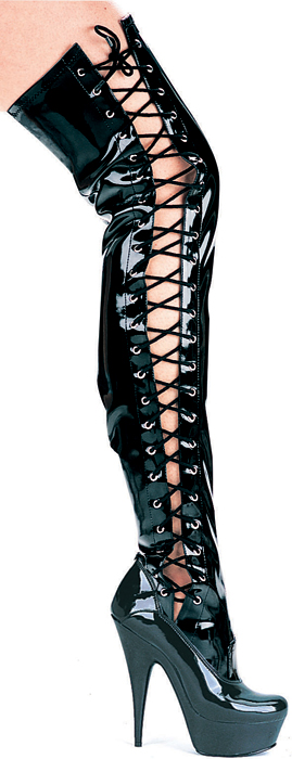6 Inch Stiletto Heel Side Lacing Platform Thigh High Boots