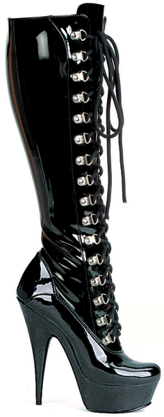 6 Inch Stiletto Heel Front Lacing Stretch Platform Knee Boots