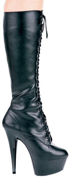 6 Inch Stiletto Heel Front Lacing Platform Knee Boots