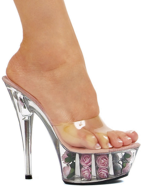 6 Inch Stiletto Heel Rose Filled Platform Mules