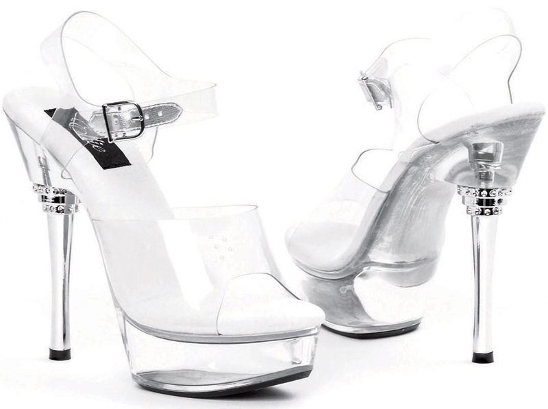 6 Inch Silver Metallic Stiletto Heel Platform Sandals