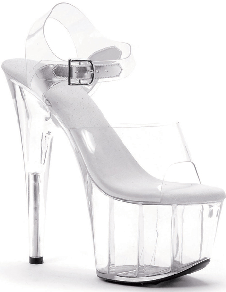 7 Inch Stiletto Heel Clear Platform Mules - Click Image to Close