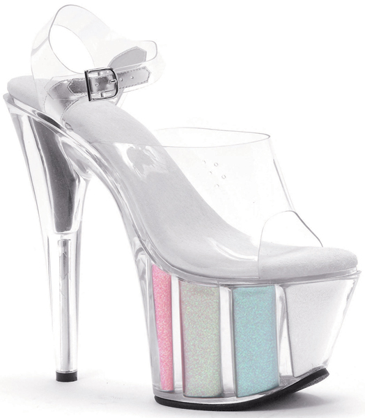 7 Inch Stiletto Heel Glitter Filled Platform Sandals
