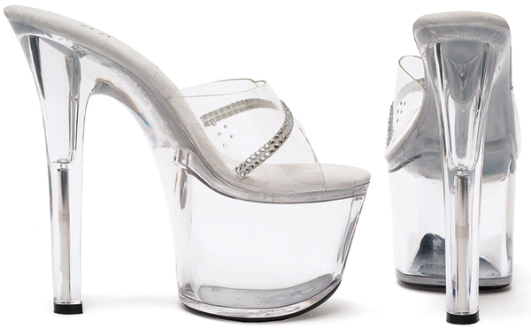 7 Inch Stiletto Heel Clear Platform Mules w/Rhinestones - Click Image to Close