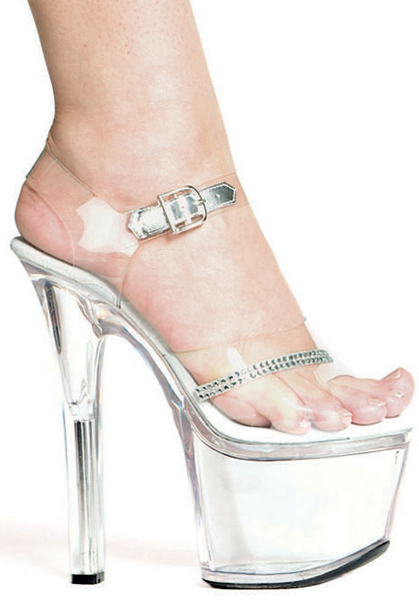 7 Inch Stiletto Heel Clear Platform Sandals w/Rhinestones - Click Image to Close