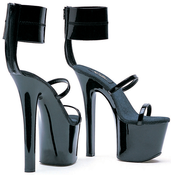 7 Inch Stiletto Heel Double Band Ankle Wrap Platform Sandals