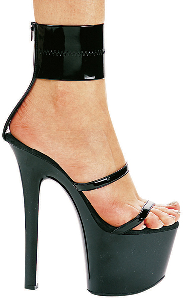 7 Inch Stiletto Heel Double Band Ankle Wrap Platform Sandals - Click Image to Close