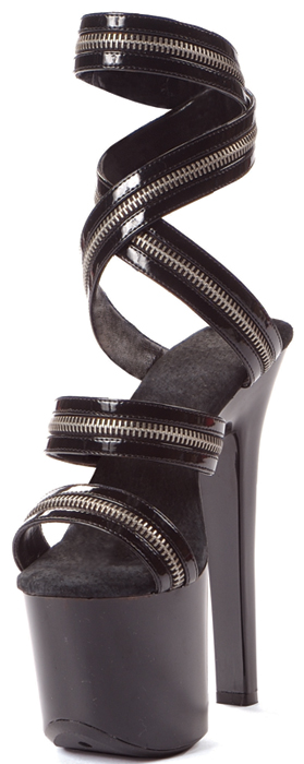 7 Inch Stiletto Heel Zippered Strappy Platform Sandals