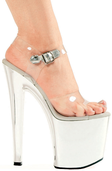 8 Inch Stiletto Heel Silver Chrome Platform Sandals