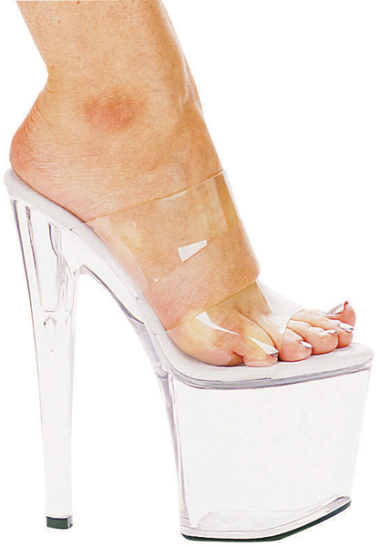 8 Inch Stiletto Heel Clear Double Band Platform Mules