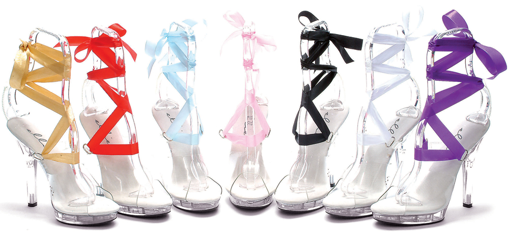 5 Inch Stiletto Heel Platform Sandals w/ 7 Changeable Ribbons