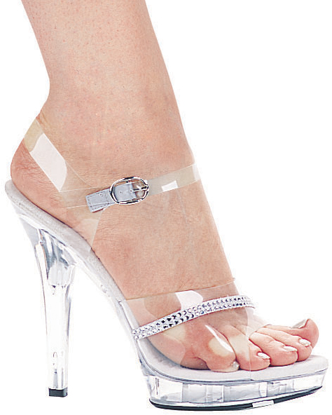 5 Inch Stiletto Heel Sandals w/Rhinestones - Click Image to Close