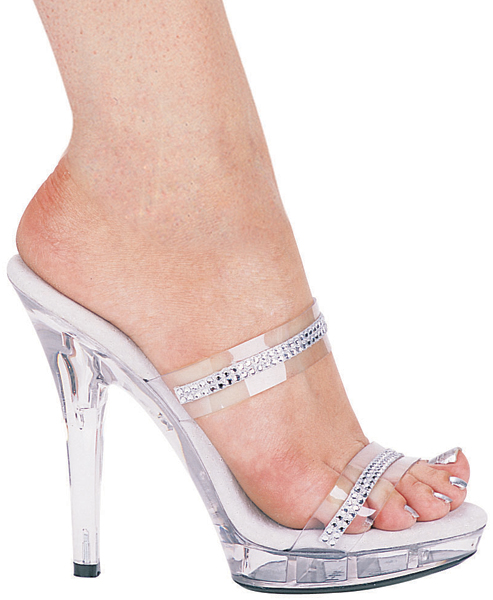 5 Inch Stiletto Heel Double Band Mules w/Rhinestones